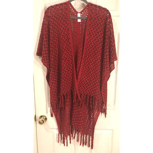 Pretty Brick Red Knit Ruana, OS